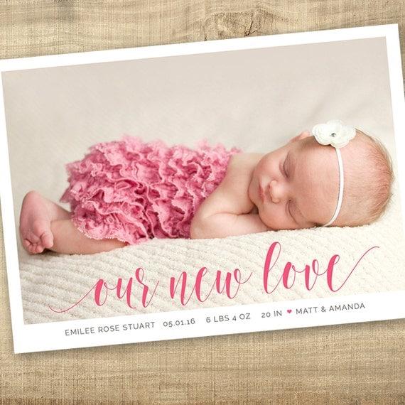 valentine birth announcement modern baby announcement hello