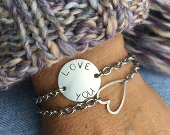Open Link Bracelet Sterling Silver Hand Stamped Love You Tag Bracelet with an Open Heart Sterling Silver Bracelet SALE