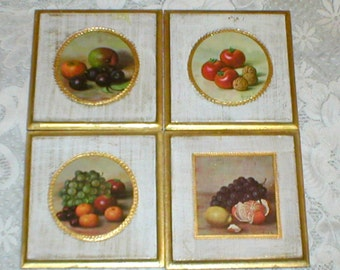 Florentine Pictures Italian Gold Gilt Still Life Fruit Set Of 4 Vintage
