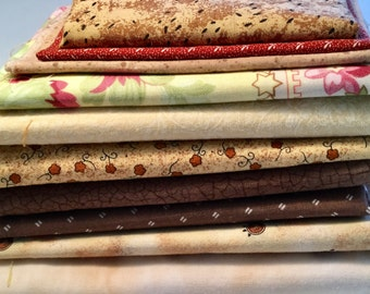 Browns and Tans Calicoes Fabric Destash Over 1 Pound
