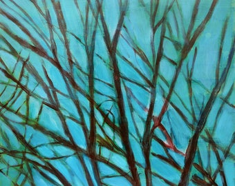 fine art painting - Purple Branches, Aqua Sky - original artwork by Irene Stapleford - wall decor - wantknot shop