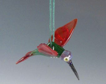 Hummingbird Ornament Glass RC Art Glass Lampwork Glass Hummingbird Hanging Ornament Figurine Sculpture Suncatcher Humming Bird