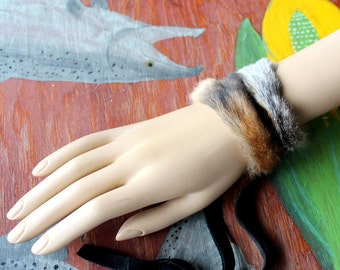 Fur bracelet - Real red fox fur bracelet or anklet with recycled leather straps for neotribal costume and festival wear