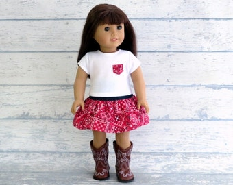 18 inch Doll Outfit, Cowgirl Skirt and Pocket Tee, Bandana Skirt, Short Sleeve Tee