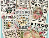 SALE BINGO CARDS Collage Digital Images -printable download file-