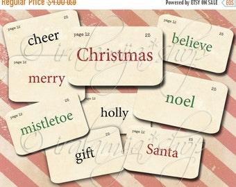 SALE CHRISTMAS FLASHCARDS Collage Digital Images -printable download file- Digital Collage Sheet Vintage Paper Scrapbook