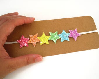 Rainbow Glitter Star Headband
