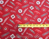 Farmall Tractors International Harvester Club Logo on Red BY YARDS Cotton Fabric