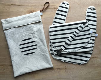 Black and White Stripe Bib Gift Set