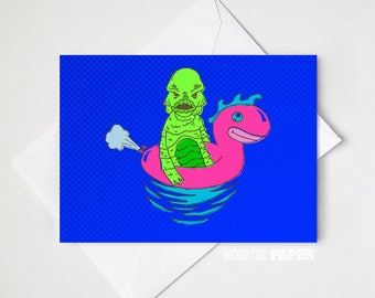 Carl the Creature Greeting Card - Halloween Card - Hollywood Monsters - Creature from the Black Lagoon