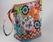 Bright Flowers Knitting Project Bag - Tall Sock Project Bag - Zippered Project Bag - Crochet Project Bag - Tall Wedge Bag - Sock Sack