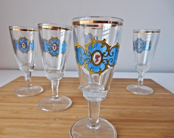 Cordial Glasses, Shot Glasses, Set of Five Glasses, Vintage Cordials, Vintage Shot Glasses