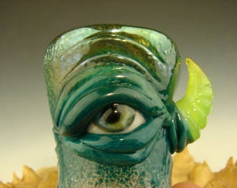 Hand blown Shot Glass Flameworked Art Freaky Monster eye by Eli Mazet (ready to ship) Teal #2