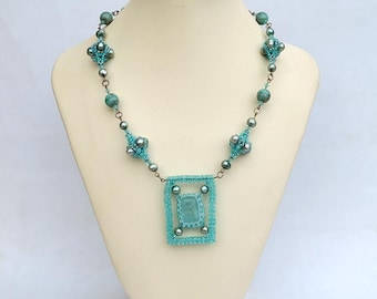 Aquamarine necklace with beaded beads Aqua blue necklace with real aquamarine gemstone Geometry beadwork necklace of natural materials N647