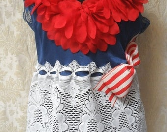 30% OFF Spring Cleaning TUNIC Top Tank 4th of July Lace Picinic Celebration Patroit Boho Flag Day
