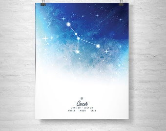 Cancer Poster, Zodiac Cancer Print, Zodiac Stars, Cancer Constellation