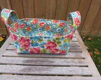 Fabric Basket Bin, Storage, Organization, Home Decor, Gift Bin, Fabric Bin, Coral and Aqua Flowers with Green, Small Size