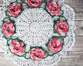 Beautiful Crocheted White Shaded Pink Rose Floral Flower Doily Table Topper - 17""