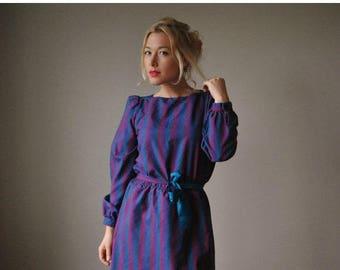 25% OFF SALE 1970s Jewel Striped Dress~Size Small