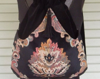 Backpack Tapestry Renaissance Backpack  Black Velvet Book Bag  Tapestry Backpacks  Piperscrossing