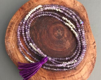 tiny delicate amethyst stretch wrap bracelet necklace  tiny tassel, wrap bracelet , purple bracelet, tiny beaded bracelet, tassel jewelry