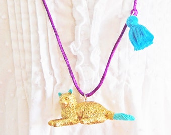 Cat Necklace. Kids Cat Necklace. Tassel Necklace. Gifts for Cat Lovers. Girls Cat Necklace. Cat Jewelry. Gifts for Kids. Cat Lady. Boho