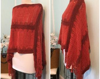 Burnt Orange Knit Poncho, shall, vintage knit Fall Sweater. Size S