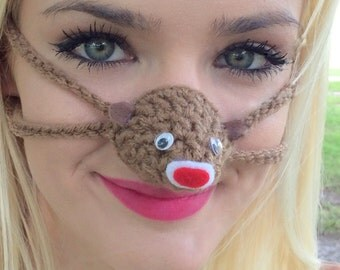 Brown Sock Monkey Nose Warmer, Gag Gift, Nose Cozy Stocking Stuffer, Winter Nose Cover, Outdoor Indoors, Night Nose Warmer, Party Favor Gift