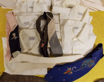 Vintage mixed lot mens white shirts Manhattan brands, shirt collars, old ties, hankies