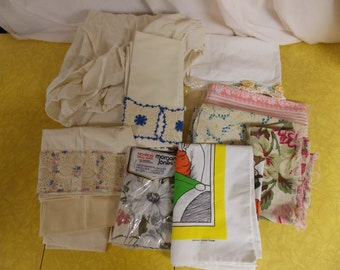 Vintage lot pillowcases, twin mattress cover case cotton, crocheted/print, collectibles