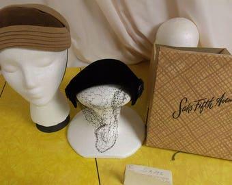 Lot 2 Saks Fifth AVenue Debutante hats, vintage and Saks hat box, brown felted w/knit, black velvet bonnet beaded