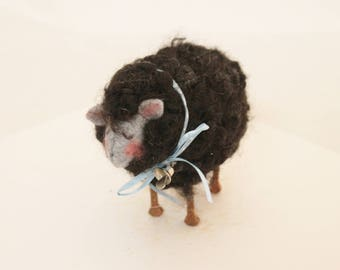 Sheep, Little Black Sheep Prim Needle Felted Sheep, Year of the Sheep #2545
