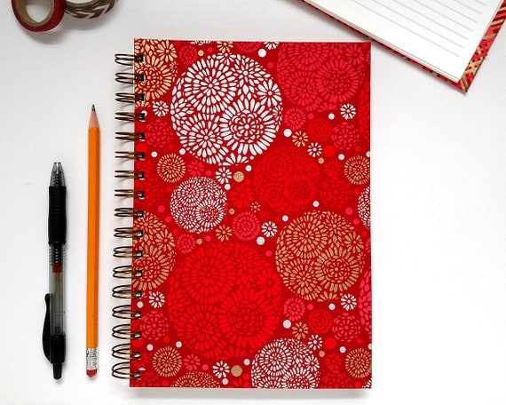 Lined Journal – Lined Notebook – Bullet Journal – Red Journal with Silver and Gold – Red Lined Journal – Red Bullet Journal – Red Lined BuJo