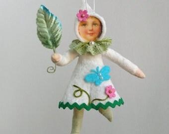 Spun Cotton Ornament, Cotton batting doll, Cotton fairy, June, Plumpuppets