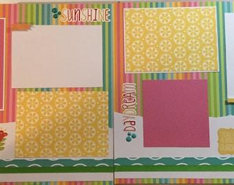 SUMMER 12 x 12 Scrapbook Layout - Premade Scrapbook Page - Summer