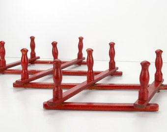 Red Wooden Accordian Style Coffee Mug Holder or Display Rack, Distressed Painted Wall Hooks or Pegs