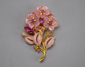 Vintage Pink Molded Lucite and Rhinestone Flower Bouquet Brooch or Pin, Pink Enamel Leaves, Gold Tone Metal
