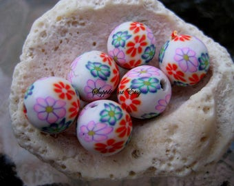 Sale pink blue RED white Floral Polymer Clay Beads Round  beads 10mm-Fancy handmade Floral beads- white oink blue colors