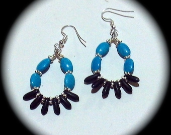 Turquoise and Black Spikes  Long Dangle Hoop Style Earrings Everyday Wear Fashion Boho Native Hippie Tribal Ethnic African Cottage Chic
