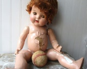 Vintage composition doll Shabby compo doll redhead brown tin eyes Loose joints AS IS for parts projects or rehab