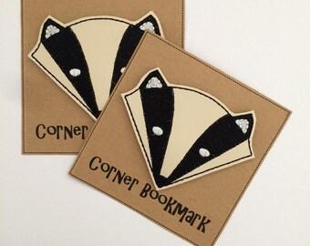 Badger - Embroidered Corner Bookmark