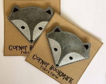 Silver Fox - Embroidered Corner Bookmark