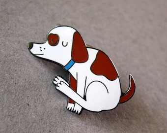 Dog dragging bum enamel pin, funny nasty spotted dog lapel pin