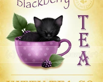 Kitten in Teacup // Black Cat Art //  Blackberry Tea Kitty