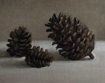 "Petite Original Oil Painting, Realism, Minimalist Still Life, Pinecones,  5"" x 7"" on linen panel"