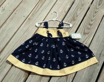 Nautical Dress - Girls Anchor Dress - Girls Spring Dress - Navy and Yellow Dress - Birthday Dress - Knot Dress -  Groovy Gurlz