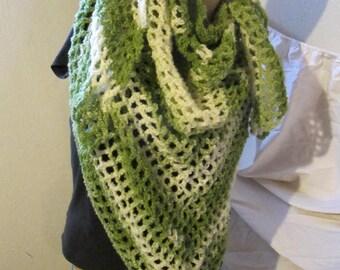 Shaded Greens Plush Triangle Scarf/Shawl