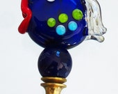 Finials - Handmade Venetian Glass Lamp Finials-Blue Fish with Red Glass Lips Brass Hardware. Lime Green Aqua Dots - Finials Hold Lamp Shades