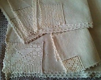 Linen Placemats Napkins Runner, Filet Crochet Lace Corners 10pc Dining Table Set , 1920s vintage handmade lace ivory cream