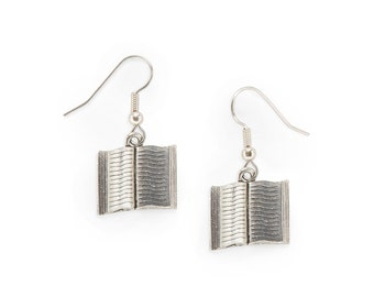 Book Charm Earrings Great Teacher Gift silver pewter new style open lead-free made in USA